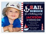 Nautical themed First Birthday Invitations Sail Away Nautical Birthday Invitations Paperstyle
