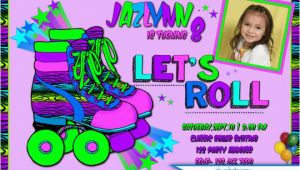 Neon Colored Birthday Invitations Roller Skating Birthday Invitation Neon Colored
