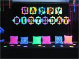 Neon Happy Birthday Banner Glow In the Dark Blacklight Neon Party Made with Glow