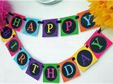 Neon Happy Birthday Banner Neon Banner Printable Instant Download Happy Birthday