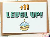 Nerd Birthday Cards Funny Birthday Card Level Up Gamer Birthday Card