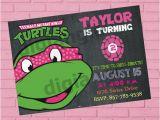 Ninja Turtle Birthday Invite Girl Teenage Mutant Ninja Turtle Birthday Invitation Ninja