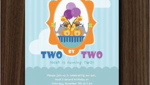 Noah S Ark Birthday Invitations Noah 39 S Ark Invitation Noah 39 S Ark Birthday Two by Two