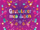 Norwegian Birthday Card Gratulerer Med Dagen Happy Birthday norwegian Stock Vector