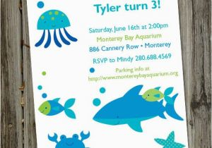 Ocean themed Birthday Invitations A Very Fishy Birthday Printable Aquarium Ocean Party