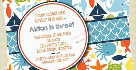 Ocean themed Birthday Invitations Items Similar to Under the Sea Birthday Invitations Sea