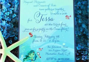 Ocean themed Birthday Invitations Mermaid Under the Sea Children 39 S Birthday Party