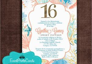 Ocean themed Birthday Invitations order This Seashell Ocean Sweet Sixteen Coral
