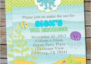 Ocean themed Birthday Invitations Under the Sea Birthday Invitation New Design Digital