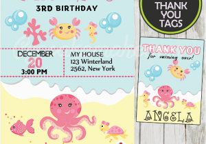Ocean themed Birthday Invitations Under the Sea Girl Birthday Invitation Personalized D2