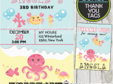 Ocean themed Birthday Party Invitations Under the Sea Girl Birthday Invitation Personalized D2