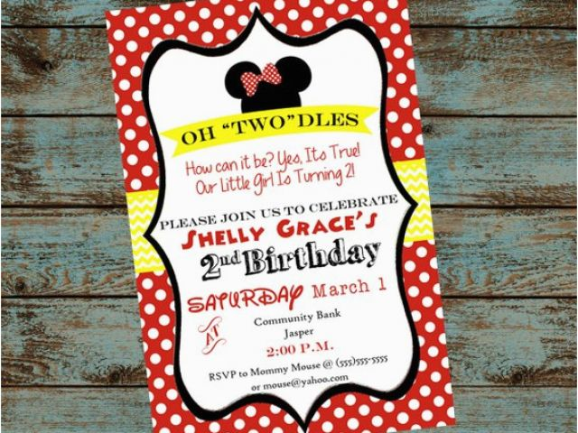 Oh Toodles Birthday Invitations Minnie Mouse 2nd