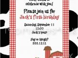 Old Macdonald Had A Farm Birthday Invitations Old Macdonald Had A Farm Red Farm Birthday Party