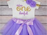 Onederful Birthday Girl One Derful First Birthday Outfit Girl Purple and Gold Birthday
