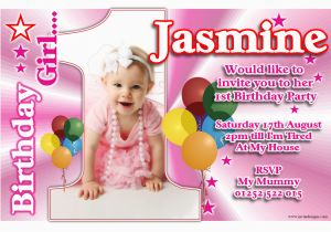 Online First Birthday Invitation Cards 1st Invitations Girl Free Template Personalised