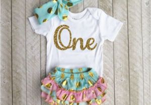 Outfits for 1 Year Old Birthday Girl Mint and Gold First Birthday Outfit One Year Old Outfit