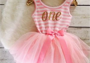 Outfits for First Birthday Girl Pink and Gold First Birthday Outfit Tutu Dress Gold by