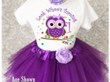 Outfits for First Birthday Girl Purple Owl Look who 39 S Baby Girl 1st First Birthday Tutu