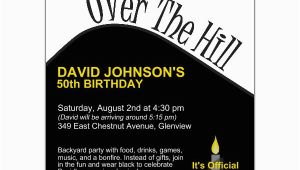 Over the Hill 50th Birthday Invitations Over the Hill Birthday Party Invitations Paperstyle