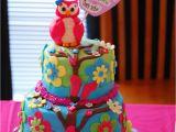 Owl Birthday Cake Decorations Owl theme Birthday Cake Cakecentral Com