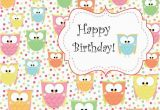 Owl Birthday Card Sayings Cute Owl Birthday Printable Card Instant Download