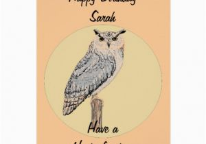 Owl Birthday Card Sayings Eagle Owl Greetings Card
