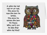 Owl Birthday Card Sayings Patchwork Owl Card with Quote Poem Zazzle