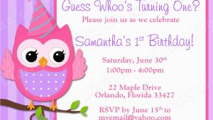 Owl Birthday Invitations Girl Children 39 S Owl Birthday Invitation Girl Design 3