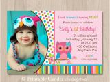 Owl Birthday Invitations Girl Pink Girl Owl Birthday Invitation Owl Birthday by