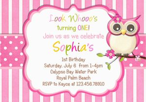 Owl Birthday Party Invites Little Invitation Pink Girl Theme By