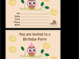 Owl Birthday Party Invites Owl Birthday Party Invitations Template Best Template