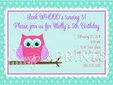 Owl Birthday Party Invites Owl Printable Birthday Party Invitation Dimple Prints Shop