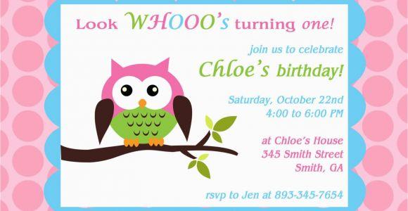 Owl themed Birthday Invitations Printable Owl theme Birthday Party Invitation
