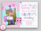 Owl themed First Birthday Invitations Girls Birthday Invitation Girls 1st Birthday Invitation
