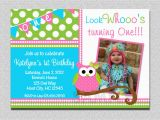 Owl themed First Birthday Invitations Owl Birthday Invitation Pink and Green Owl Birthday Party