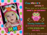 Owl themed First Birthday Invitations Owl Birthday Invitations Free