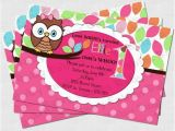 Owl themed First Birthday Invitations Pretty Owl Birthday Party Invitation