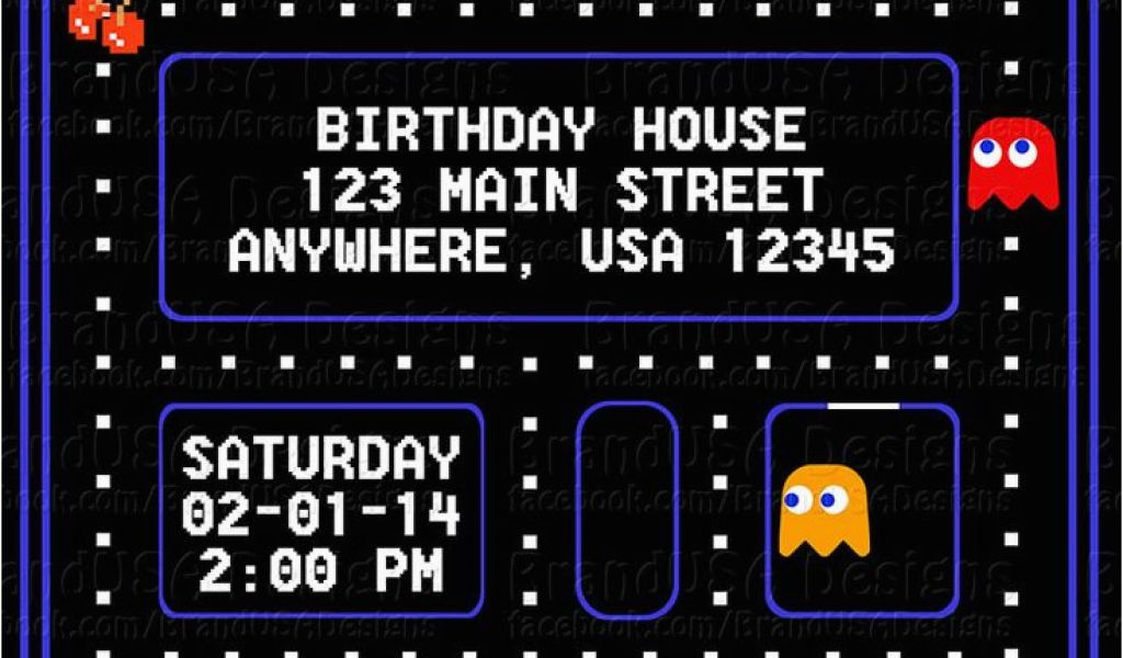 Pac Man Birthday Invitations Pacman Party Invitations Google Search