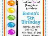 Painting Birthday Party Invitation Wording Art Invitations Painting Party Birthday Party Paint Box
