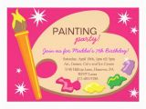 Painting Birthday Party Invitation Wording Painting Art Birthday Party Invitations 5 Quot X 7