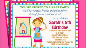 Painting Birthday Party Invitation Wording Painting Art Party Birthday Invitation Printable or Printed