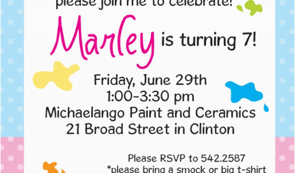 Painting Birthday Party Invitation Wording Painting Personalized