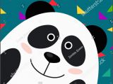Panda Birthday Card Template Happy Birthday Card Panda Card Template Stock Vector