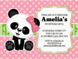 Panda Birthday Card Template Panda Party Invitation Panda Invitation Panda Party Invite
