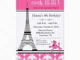 Paris themed Birthday Cards Paris Eiffel tower theme Birthday Party Pink Card Zazzle