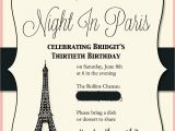Paris themed Birthday Cards Paris themed Birthday Party Invitations 15 Invites