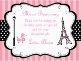 Paris themed Birthday Cards Parisian Thank You Cards Personalized
