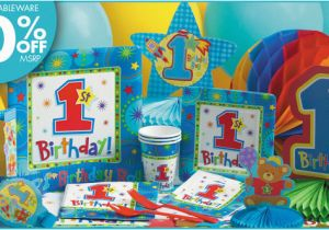 Party City 1st Birthday Decorations Pin One Derful Boys Supplies Cake