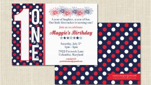Patriotic Birthday Invitations Patriotic Birthday Invitation 1st Birthday Digital File or