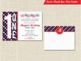 Patriotic Birthday Invitations Patriotic Birthday Invitation and Thank You Note Red White
